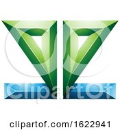 Blue And Green 3d Geometric Mirrored Letter E