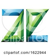 Green And Blue 3d Geometric Letters A And E