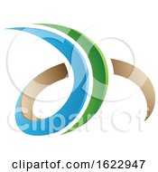 Blue Green And Beige 3d Curly Letters D And H