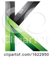 Black And Green 3d Geometric Letter K