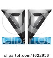 Blue And Black 3d Mirrored Letter E