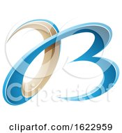Blue And Beige Or Gold 3d Curly Letters A And B