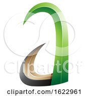Green And Black 3d Horn Like Letter A