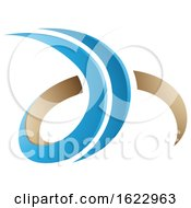 Blue And Beige 3d Curly Letters D And H