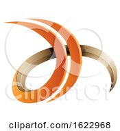 Orange And Beige 3d Curly Letters D And H