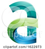 Green Blue And Turquoise 3d Curvy Letter A