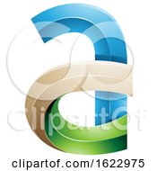 Blue Green And Beige 3d Curvy Letter A