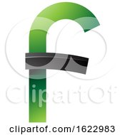 Green And Black Curvy Letter F