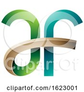 Green And Turquoise Curvy Letters A And F
