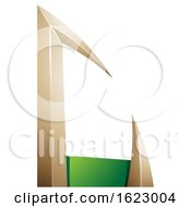 Green And Beige Or Gold Arrow Shaped Letter C