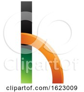 Green And Orange Letter H With A Quarter Circle