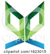 Poster, Art Print Of Green And Blue Butterfly Like Letter E