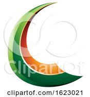 Green And Orange Flying Letter C