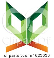 Poster, Art Print Of Green And Orange Butterfly Like Letter E