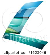 Blue Turquoise And Green Flying Letter L
