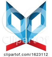 Poster, Art Print Of Blue And Red Butterfly Like Letter E