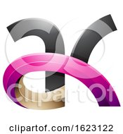 Black Beige And Magenta 3d Curvy Letters A And K