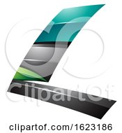 Black Turquoise And Green Flying Letter L
