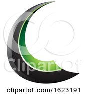 Black And Green Flying Letter C