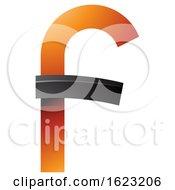 Black And Orange Curvy Letter F