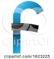 Blue And Black Curvy Letter F