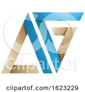 Blue And Beige Folded Triangular Letters A And G