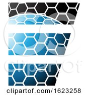 Black And Blue Honeycomb Pattern Letter E