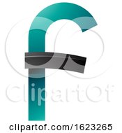 Black And Turquoise Curvy Letter F
