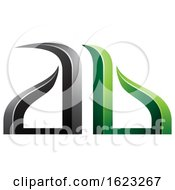 Green And Black Bow Like Letters A And B