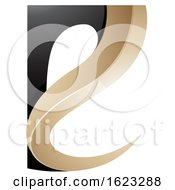 Black And Beige Or Gold Curvy Letter E