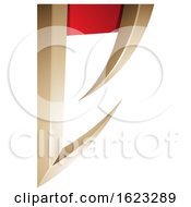 Beige Or Gold And Red Arrow Shaped Letter E