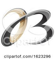 Black And Beige Or Gold 3d Curly Letters A And B