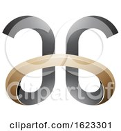 Beige Or Gold And Black Curved Letters A And G