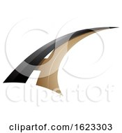 Black And Beige Or Gold Flying Letter A