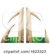 Beige Or Gold And Green Arrow Shaped Letters A And C