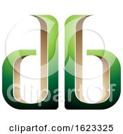 Beige Or Gold And Green Mirroed Letters D And B