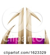Beige Or Gold And Magenta Arrow Shaped Letters A And C