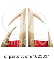 Beige Or Gold And Red Arrow Shaped Letters A And C