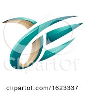 Turquoise And Beige 3d Claw Like Letters A And E