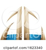 Beige Or Gold And Blue Arrow Shaped Letters A And C