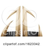 Beige Or Gold And Black Arrow Shaped Letters A And C