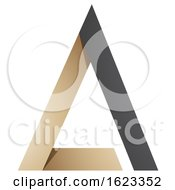 Beige Or Gold And Black Folded Triangle Letter A