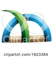Green Blue and Beige Spiky Grass like Shape by cidepix #COLLC1623384-0145