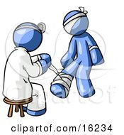 Blue Male Doctor In A Lab Coat Sitting On A Stool And Bandaging A Blue Person That Has Been Hurt On The Head Arm And Ankle Clipart Graphic