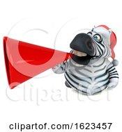 3d Christmas Zebra On A White Background