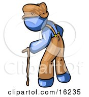 Old Senior Blue Man Hunged Over And Walking With The Assistance Of A Cane Clipart Graphic