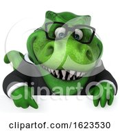 3d Green Business T Rex Dinosaur On A White Background