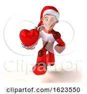 Poster, Art Print Of 3d White Male Super Hero Christmas Santa On A White Background