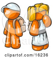 Orange Boy Wearing A Hat And Carrying A Backpack Standing Beside A Blond Orange Girl In A Dress Who Is Also Carrying A Backpack And Holding Her Hand By Her Mouth Clipart Graphic
