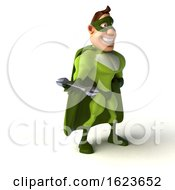3d Buff White Male Green Super Hero On A White Background